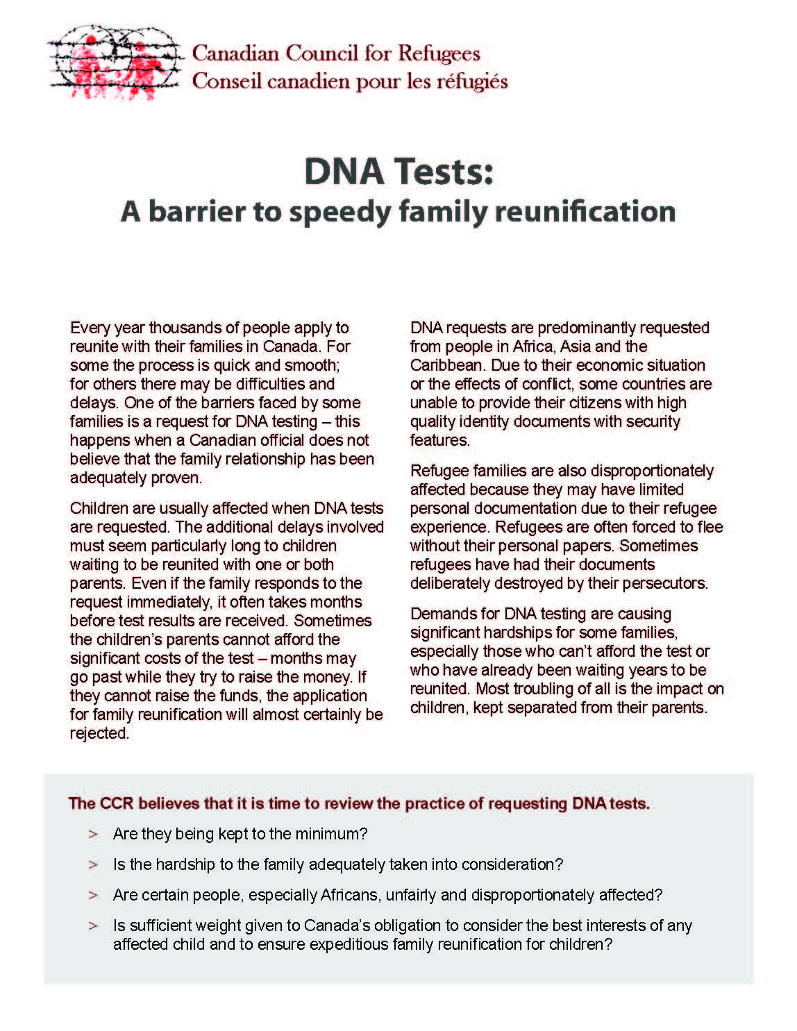 DNA Tests: A barrier to speedy family reunification
