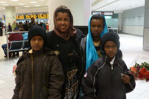 Amina and children in Toronto