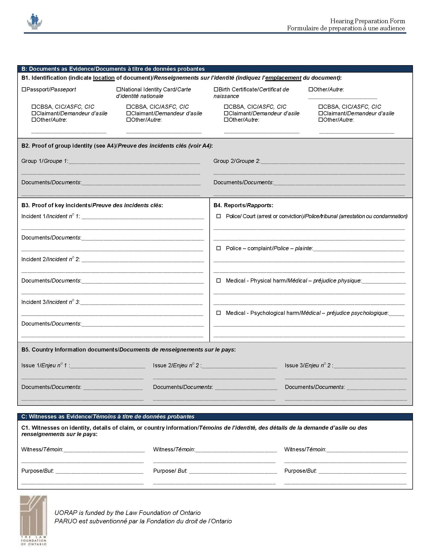 The Hearing Preparation Form   Canadian Council for Refugees