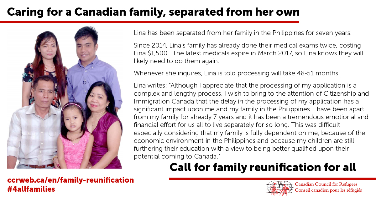 Caring for a Canadian family, separated from her own