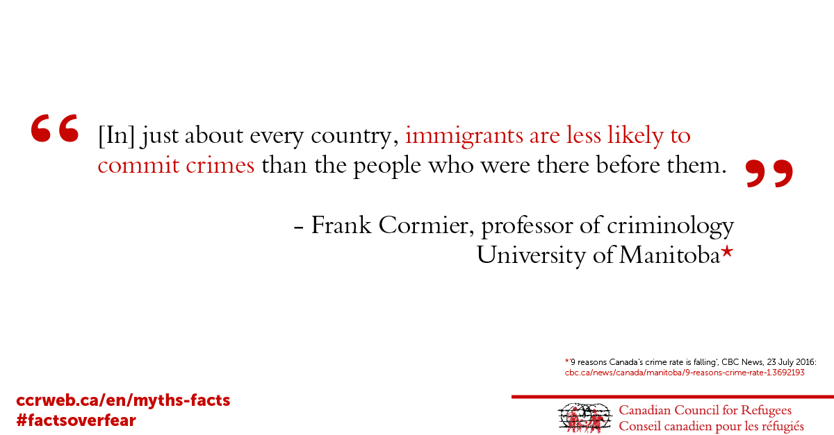 On the fasle link between immigrants and crime - FCormier quote