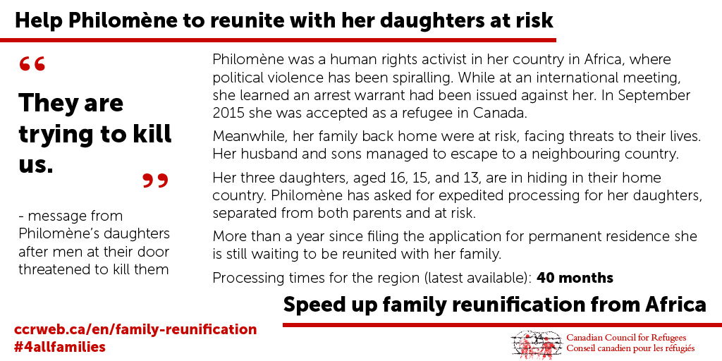 Help Philomène to reunite with her daughters at risk