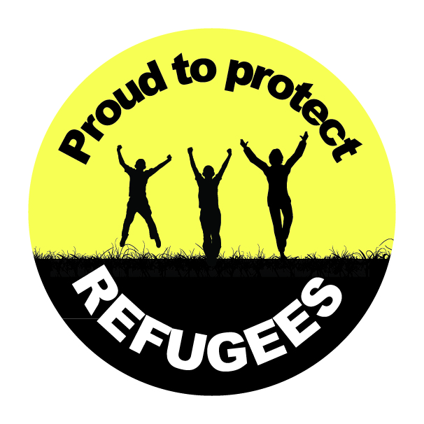 Proud to protect refugees button EN